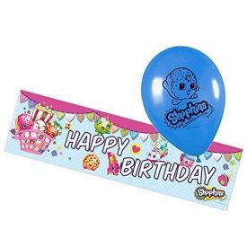 Shopkins - Party Foil Banner and 5 Shopkin Balloons