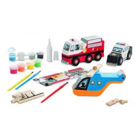 Melissa and Doug Decorate-Your-Own -  Rescue Vehicles Set