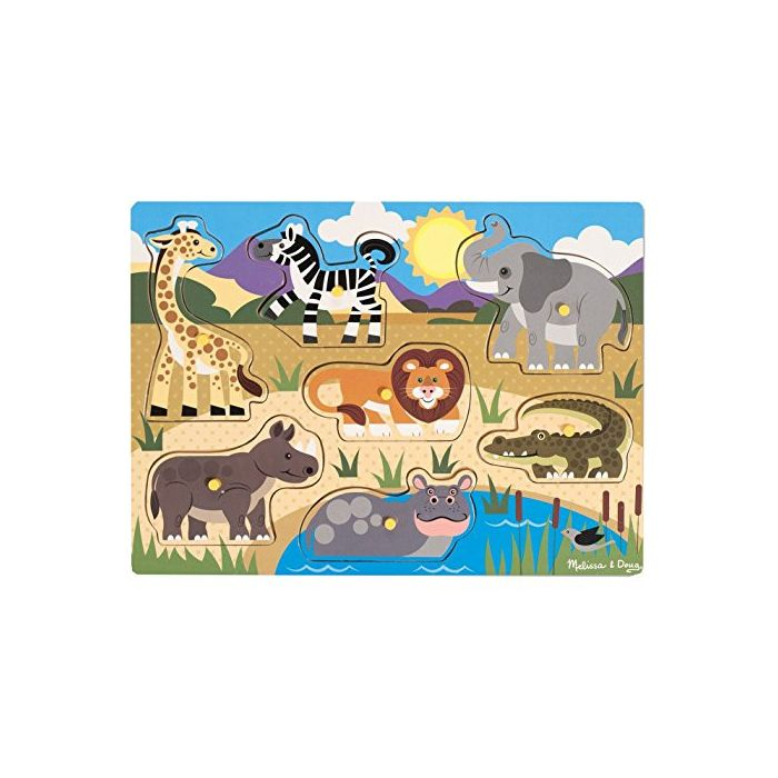 Melissa & Doug - Safari Wooden Peg Puzzle (7 pcs)