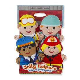 Melissa & Doug - Jolly Helpers Hand Puppets (Set of 4) - Construction Worker, Doctor, Police Officer, and Firefighter