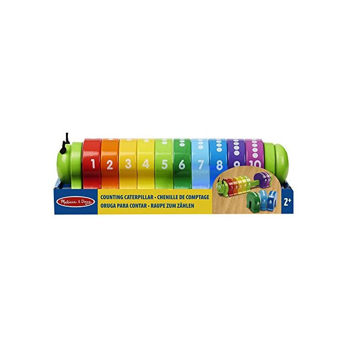 Melissa & Doug - Counting Caterpillar - Classic Wooden Toy With 10 Colorful Numbered Segments