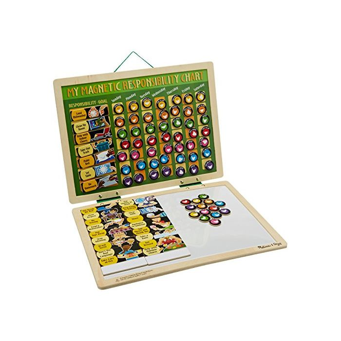 Melissa & Doug - Deluxe Wooden Magnetic Responsibility Chart With 90 Magnets