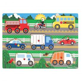 Melissa & Doug - Vehicles Wooden Peg Puzzle (8 pcs)