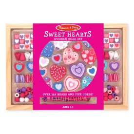 Melissa & Doug - Sweet Hearts Wooden Bead Set With 120+ Beads and 5 Cords for Jewelry-Making