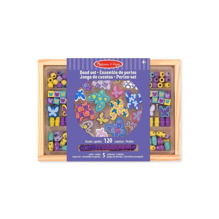 Melissa & Doug - Butterfly Friends Wooden Bead Set With 150+ Beads for Jewelry-Making
