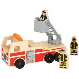 Melissa & Doug - Wooden Fire Engine With 3 Firefighter Play Figures