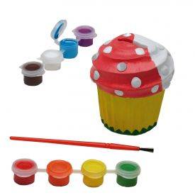 Melissa & Doug - Decorate-Your-Own Cupcake Bank Craft Kit With 8 Pots of Paint and Paintbrush