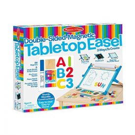 Melissa and Doug Double-Sided Magnetic Tabletop Art Easel - Dry-Erase Board and Chalkboard