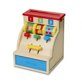 MeliSSa & Doug Spin and Swipe Cash Register Wooden Toy with 3 Play Coins/Pretend Credit Card