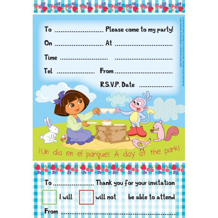 Dora Party Invitations