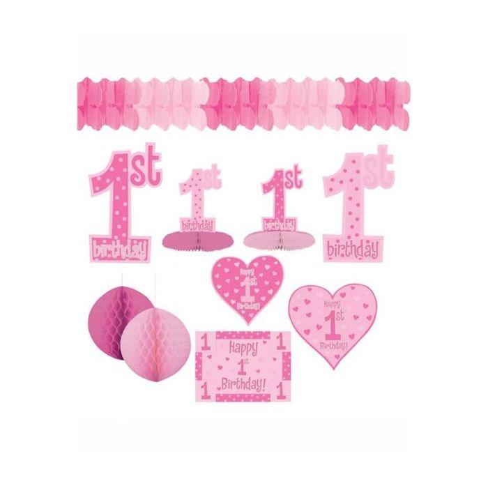 Pink First Birthday Decorating Kit