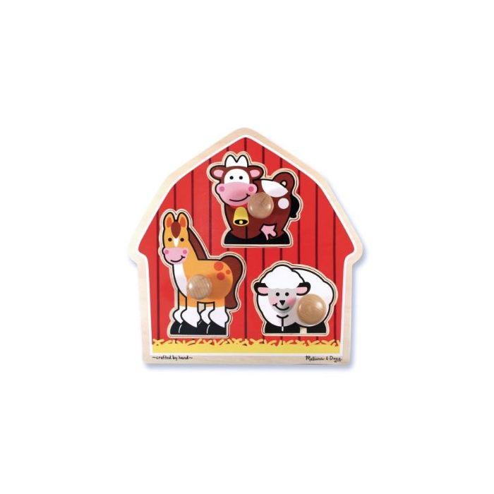 Melissa and Doug - Barnyard Animals Large Peg Puzzle.