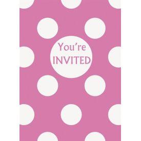 Polka Dot Invitations - Pink