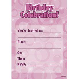 Birthday Invitations - Pink