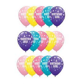"Birthday Girl Assorted Colours Qualatex 11"" Latex Balloons x 6"