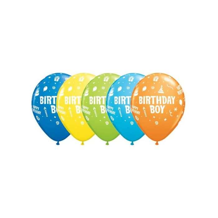 "Birthday Boy Assorted Colours Qualatex 11"" Latex Balloons x 6"