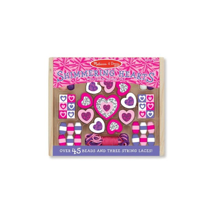 Melissa and Doug - Shimmering Hearts Wooden Bead Set